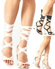 Ladies Womens High Block Heel Clear Perspex Lace Up Peep Toe Sandals Shoes Size