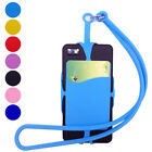 Silicone Universal Lanyard Cell Phone Neck Strap Case Holder With ID Card Slot
