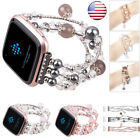 2018 Lady For Fitbit Versa Pearl Beads Beaded Elastic Bracelet Watch Band Strap image
