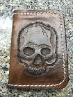 Hand tooled skull leather card wallet