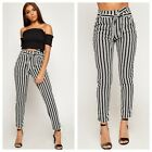 New Womens Striped Belted Pocket Crepe Pants Ladies Tapered Skinny Leg Trousers