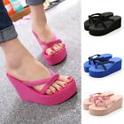 US STOCK Women Wedge Platform Thong Flip Flops Sandals Beach