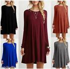Women Wild Casual Cewneck Long Sleeve Dress Solid Color Loos