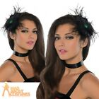 Raven Hair Clip Ladies Halloween Witch Black Steampunk Feather Adult Fancy Dress