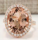 18K Rose Gold Filled Morganite Wedding Engagement Ring Silver Jewelry Size 5-12 image