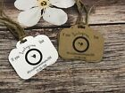 Instagram wedding camera tags rustic personalised favours table decor vintage