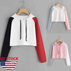 Women Short Crop Top Hooded Full Hoodie Sweatshirt Split Joi