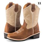 Men's Rodeo Cowboy Boots Genuine Leather Western Souare Toe Botas