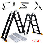 15.5FT Aluminum Multi Purpose Ladder Extension Folding Telescoping Telescopic