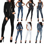 Sexy Womens Camouflage Army Print Jumpsuit Denim Catsuit Skinny Jean Size 6-14