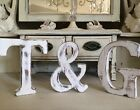 Large Shabby Chic Vintage White Wooden Baby Names  A-z Initial Alphabet Letters