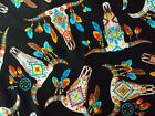 Southwest Bull Fabric Black Quilting Sewing Cotton Timeless Treasures BTHY BTY