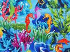 Seahorse Fabric Ocean Blue Timeless Treasures Quilting Sewing Cotton BTHY BTY