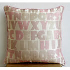 Pink Alphabets 16X16 inch Jacquard Pillow Covers - Abc