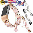 For Fitbit Charge 2 Jewelry Faux Pearl Beaded Elastic Stretch Strap Replace Band image