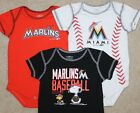 New Boys Miami Marlins 3 pc Lot Bodysuit/Shirts; MLB Baseball - Size 12 mo