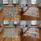 NEW SMALL TO LARGE FADED MULTI COLOUR HIGH QUALITY FUNKY RETRO RUGS Think Rugs