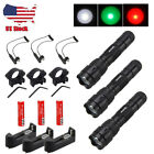 Military Green Red White LED Rechargeable Hunt Flashlight Picatinny Mount 18650Lights & Lasers - 106974