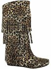 Mudd-55 Womens 4 Layer Fringe Flat Boots Moccasin Mid Calf Comfy Boots