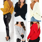 LADIES Twist Knot Slouch Fit Baggy Jumper Front Back Wrapover Womens Knitted