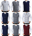 Mens Sweater Vest Knitted Tank Top Check Sleeveless Golf Pullover Argyle