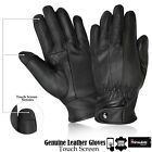 Motorcycle Sheep Skin Leather Military Uniform Biker Touch Screen Gloves - Black