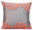 """Silver Decorative Pillow Covers 16""""x16"""", Art Silk Pillow Covers - Peach Waters"""