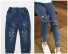 1pc baby kids girls clothes jeans denim pants girls trousers skinny jeans cat
