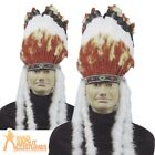 Adult Deluxe Native American Headdress Feather Red Indian Fancy Dress Costume