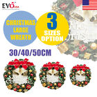 40/50cm Christmas Wreath Door Wall Ornament Garland Decor Bowknot Large 2018