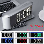 Touch Function Digital Alarm Clock LED Bedroom Wall Desk Night Light USB Charger