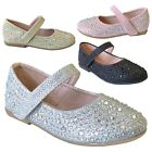 Внешний вид - New Girls Rhinestone Flats Round Toe Mary Jane Strap Shoe Baby Toddler Kids 5-12