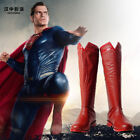 Justice League Superman Clark Kent Cosplay Leather Boots Shoes Custom Made NN.20