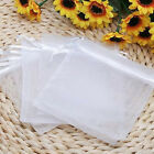 50/100x White Organza Gift Candy Bags Jewelry Packing Mesh Pouch Wedding Party