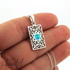 Sterling Silver 925 Blue Opal Jewish Star Necklace Star of David Pendant N145