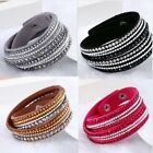 NEW Rhinestone Leather Wrap Bracelet Crystal Multilayer Bracelets bangle Women