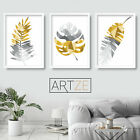 Set of 3 Yellow & Grey Geometric TROPICAL Leaves Fern Gallery Art Prints Poster