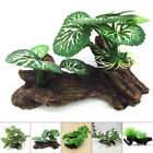 1× Aquarium Artificial Plant With Fake Wood Ornaments Fish Tank Decor 5 Styles
