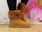 Ladies Womens Flat Warm Winter Faux Suede Fur Lined Snugg Snow Ankle Boots Size