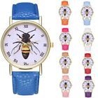 Women Fashion Analog Leather Band Watch Beer Dial Stainless Steel Quartz Watch