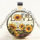 Love Sunflower Cabochon Silver/Bronze/Black/Gold Chain Pendant Necklace #7822 image