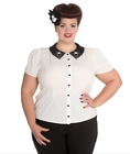 Hell Bunny Miss Muffet Spider & Web Ivory Chiffon Plus Size Blouse Top 18 20 22