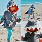 18M-4T Toddler Baby Kids Boy Girl Long Sleeves Cartoon Shark Hooded Top Clothing