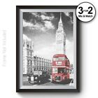 London 100% Cotton Wall Art Print - Pointillism London Bus Home Decor Red Black