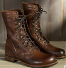 Retro Leather Mens Combat Boots Lace Up Military Army Biker Ankle Mid Calf Shoes