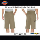 """Dickies Mens Loose Fit Multi-Use Pocket Work Shorts, #41283 15"""" Stain Release"""