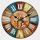 Large Wooden Vintage Clock Retro Hang On Wall Watch For Cafe Kitchen Living Room