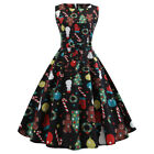 Christmas Women Vintage Xmas Gift Print Corset Dress Sleeveless Party Prom Dress