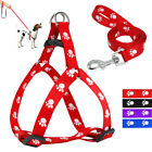 Nylon Step in Dog Harness & Leash Set Paw Print  for Chihuahua French Bulldogs