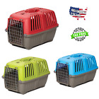 Dog Cat Carrier Plastic Crate Travel Cage With Handle Door For Small Dogs Kennel